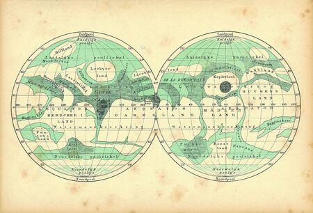 Mars old map. Vintage