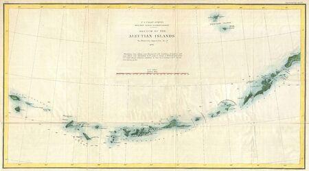 Aleutian Islands vintage map