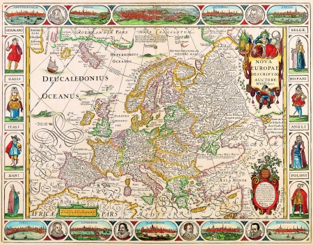 Europe old map 1658 Editorial