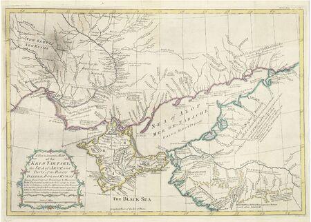azov sea: Old British map.Crimea,Black and Azov sea