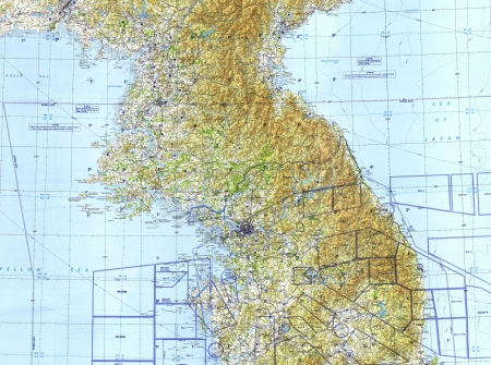 North and South Korea tactical pilotage chart . Fragment Stock Photo - 18432313
