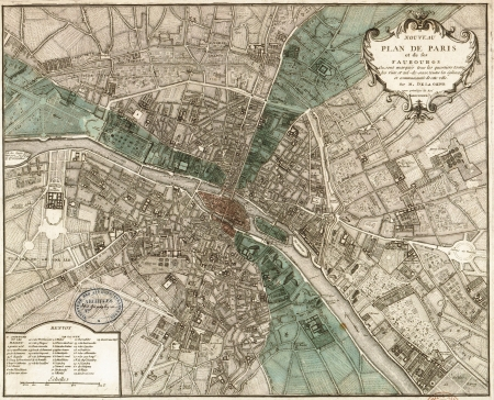 vintage paris: Par�s vendimia mapa Editorial