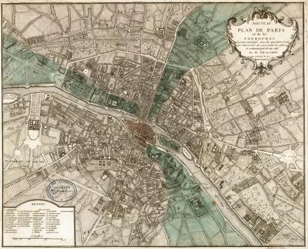 france map: Paris vintage map