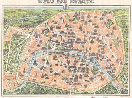paris vintage: Par�s mapa de cosecha Editorial