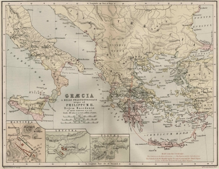 armenia: Greece vintage map Editorial