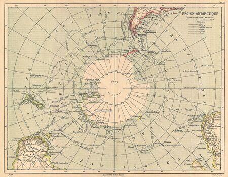 south pole: Antarctica vintage map Editorial