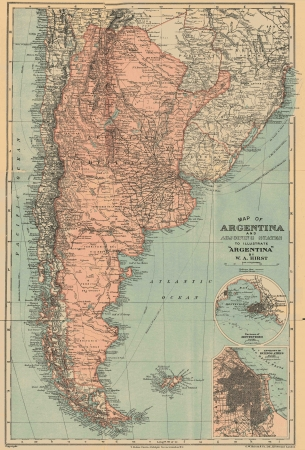topographical: Argentina vintage map