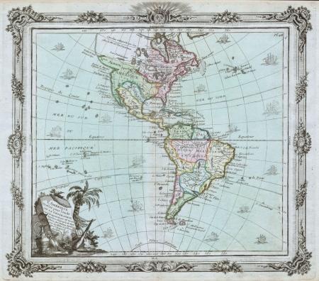 continente americano: Norte y Am�rica del Sur vendimia mapa Editorial