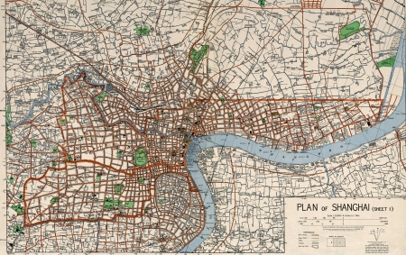 Shanghai,China World War II military map