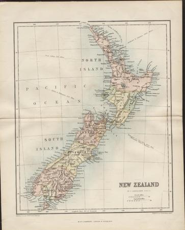 New Zealand vintage map