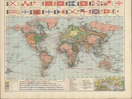vintage world map: World principal steamship lines and isochronic chart 1920 Editorial