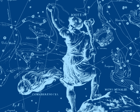 andromeda: Constellation vintage map