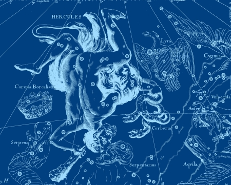 aquarius star: Constellation vintage map