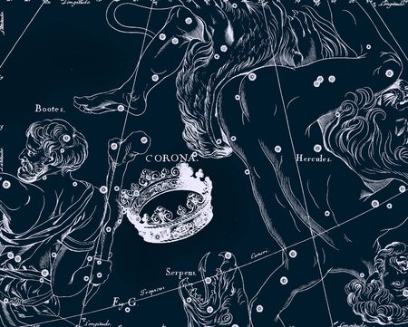 constelacion: Vendimia tabla astronómica Foto de archivo