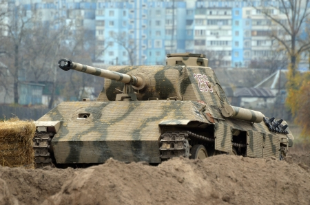 Kiev, Ukraine - November 3  Jagdpanzer 38 t   Hetzer  tank destroyer is displayed on the Field of Battle military history festival on November 3 , 2013 in Kiev, Ukraine