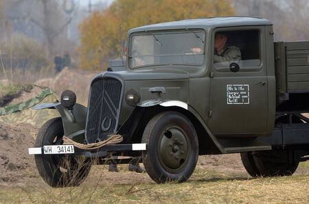 Kiev, Ukraine - November 3  German truck is displayed on the Field of Battle military history festival on November 3 , 2013 in Kiev, Ukraine