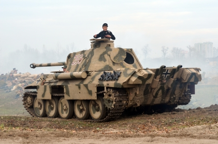 Kiev, Ukraine - November 3  JGerman tank  replica  is displayed on the Field of Battle military history festival on November 3 , 2013 in Kiev, Ukraine