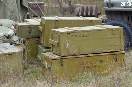 unfold: KIEV, UKRAINE -NOV 1 The Soviet ammo boxes in the Red Army reenactors  camp during during historical reenactment of WWII, Dnepr river crossing 1943, November 1, 2013 Kiev, Ukraine