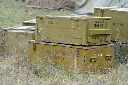 KIEV, UKRAINE -NOV 1 The Soviet ammo boxes in the Red Army reenactors  camp during during historical reenactment of WWII, Dnepr river crossing 1943, November 1, 2013 Kiev, Ukraine
