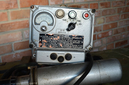 KIEV, UKRAINE -NOV 3  Vintage Soviet Geiger counter during historical military reenactment, festival  and exhibition, November 3, 2013 Kiev, Ukraine  Stock Photo - 25055731
