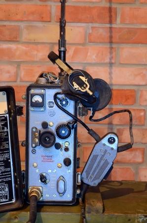KIEV, UKRAINE -NOV 3  Vintage Soviet military radio during historical military reenactment, festival  and exhibition, November 3, 2013 Kiev, Ukraine