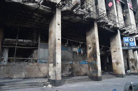 extremist: KIEV, UKRAINE -MAR 17, 2014  Downtown of Kiev Burnt down the House of trade unions  Riot in Kiev and Western Ukraine March 17, 2014 Kiev, Ukraine  Editorial
