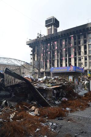 extremist: KIEV, UKRAINE -MAR 17, 2014  Downtown of Kiev Barricades Riot in Kiev and Western Ukraine March 17, 2014 Kiev, Ukraine  Editorial