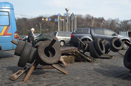 extremist: KIEV, UKRAINE -MAR 24, 2014  Downtown of Kiev Barricades Rio t in Kiev and Western Ukraine March 24, 2014 Kiev, Ukraine Editorial