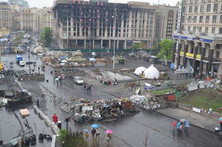 nazi flag: KIEV, UKRAINE - APR 19, 2014  Mass destruction after Putsch of Junta in Kiev  Kiev April 19, 2014 Kiev, Ukraine