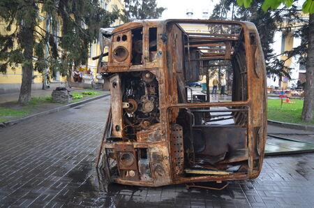 extremist: KIEV, UKRAINE - APR 19, 2014  Mass destruction after Putsch of Junta in Kiev  Kiev April 19, 2014 Kiev, Ukraine