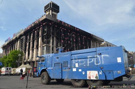KIEV, UKRAINE - APR 28, 2014  Mass destruction after Putsch of Junta in Kiev  Kiev April 28, 2014 Kiev, Ukraine