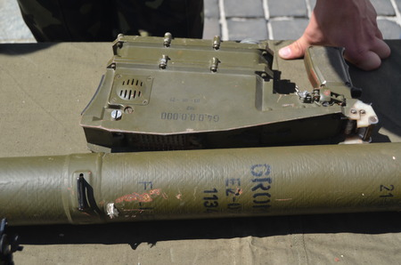 anti war: Military Exhibition weapon and equipment,  captured from Eastern regions during Civil War  Polish anti airckraft rocket launcher Grom - evidence Polish supply of insurgents July 13, 2014 Kiev, Ukraine