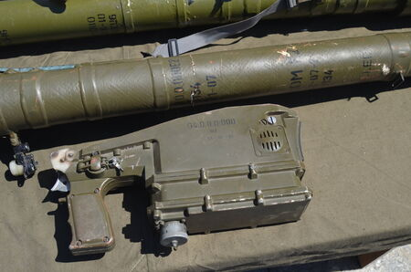 insurgents: Military Exhibition weapon and equipment,  captured from Eastern regions during Civil War  Polish anti airckraft rocket launcher Grom - evidence Polish supply of insurgents July 13, 2014 Kiev, Ukraine