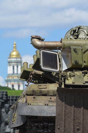 KIEV, UKRAINE - JULY 13, 2014 Military Exhibition old Soviet weapon and equipment, as a captured from Army of Novorossia during Civil War  July 13, 2014 Kiev, Ukraine