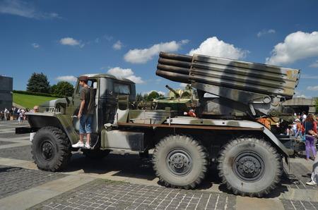 KIEV, UKRAINE - JULY 13, 2014  Weapon of the Civil War in Ukraine  July 13, 2014 Kiev, Ukraine