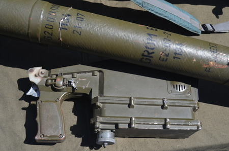 insurgents: KIEV, UKRAINE - JULY 13, 2014 Captured from Eastern regions during Civil War Polish anti airckraft rocket launcher Grom - evidence Polish supply of insurgents  July 13, 2014 Kiev, Ukraine