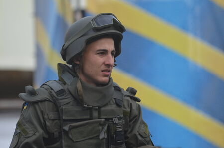 genocide: KIEV, UKRAINE - AUG 24, 2014.Ukrainian army during President Poroshenko Victory parade in downtown.  August 24, 2014 Kiev, Ukraine