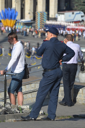 KIEV, UKRAINE - AUG 24, 2014.Ukrainian police during President Poroshenko Victory parade in downtown.  August 24, 2014 Kiev, Ukraine