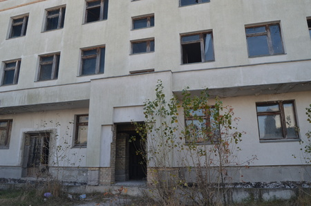 environmentalline: Kiev region,Ukraine.Sept 12.Near Chernobyl area. Modern ruins.Abandoned construction site.At September 12,2014 in Kiev region, Ukraine