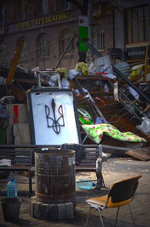 nazi flag: KIEV, UKRAINE -MAR 24, 2014.Downtown of Kiev,vandalised during Revolution of Dignity.March 24, 2014 Kiev, Ukraine Editorial
