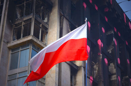 riots: KIEV, UKRAINE -MAR 24, 2014.Downtown of Kiev,vandalised during Revolution of Dignity.March 24, 2014 Kiev, Ukraine Editorial