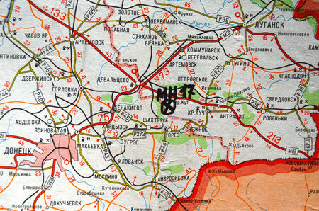 crush on: Illustrative editorial.Estern Ukraine map with site MH-17 flight crush. At January 10,2015 in Kiev, Ukraine Editorial