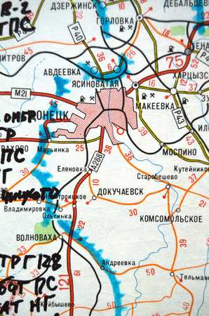 landmine: Estern Ukraine map with  road A288 from Donetsk to Volnovakha where passengers bus was exploded by antipersonnel  landmine MON-50 at Jan.13.14 civilian killed. At January 14,2015 in Kiev, Ukraine