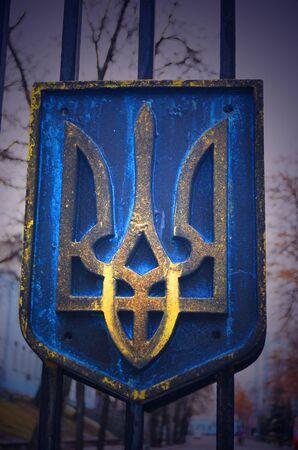 nationalists: KIEV, UKRAINE - February 2, 2015: Ukrainian nationalists of Battalion \\\Aydar\\\ burn out ukrainian state simbol during protest against president Poroshenko.The gate of the Ministry of Defence.