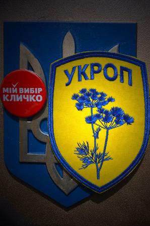 paramilitary: Illustrative editorial. Unformal chevron of Ukrainian nationalist paramilitary formations . At April 16,2015 in Kiev, Ukraine