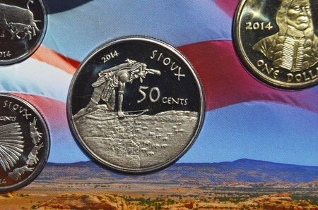 illustrative: KIEV UKRAINE  JUNE 4 2015: Illustrative editorial.Special coin edition.Soverign nation of the Sioux.USA 2014