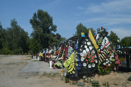executor: AUG13,2015 in KIEV,UKRAINE .Lesnoye Forest Cemetery.Graves of Ukrainan army and nationalist formations soldiers died during Ukrainian Civil War 2014-15 at Donbas. At August 13,2015 in Kiev,Ukraine
