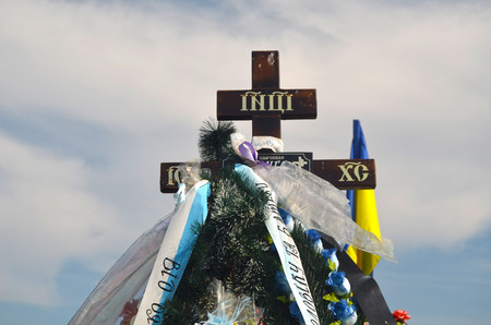 AUG13,2015 in KIEV,UKRAINE .Lesnoye Forest Cemetery.Graves of Ukrainan army and nationalist formations soldiers died during Ukrainian Civil War 2014-15 at Donbas. At August 13,2015 in Kiev,Ukraine