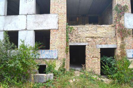 chernobyl: Abandoned construction site of Hospital.Abandoned at 1991, during ukrainian undependence crisis. Near Kiev, Ukraine Stock Photo