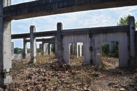 Abandoned construction site of Hospital.Abandoned at 1991, during ukrainian undependence crisis. Near Kiev, Ukraine Stock Photo